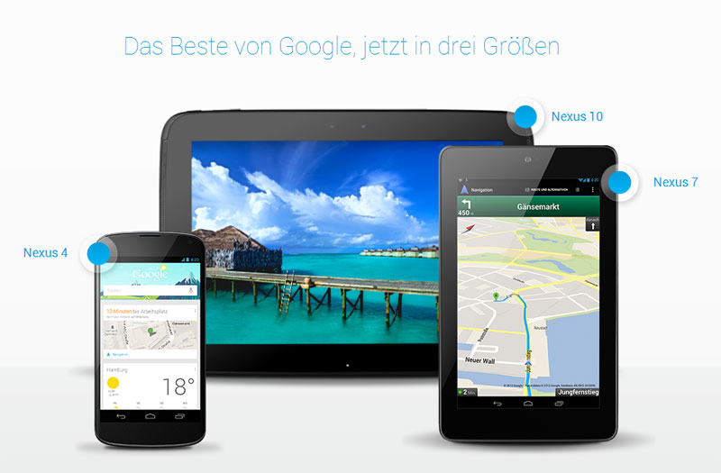 Nexus Familie Übersicht - Quelle: Screenshot http://www.google.de/nexus/